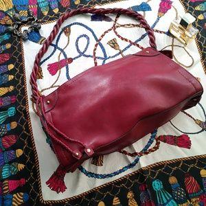Kim Rogers Hobo Shoulder Bag Red Burgundy Gold